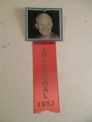 Presidential Pin Back Campaign Button Eisenhower Inauguration Flasher Ribbon
