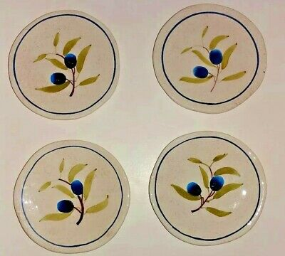 Set of 4 Butter Pats Blueberries Produced For Designpac Inc. Hand-painted