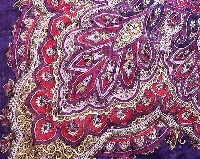 Scarf Paisley Print In Reds, Maroon, Silver Grey, Etc. 35 Inches Square