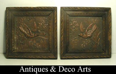 Pair of Antique Metal Wall Plaques with Arts & Crafts Japan-like Animal Decorati