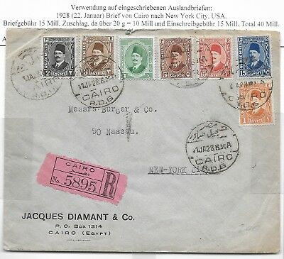 Egypt 1928 Mixed French/Arabic Fouad 7 Stamps Registered Cover to New York