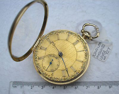 1828 EDWARD LAMB 18ct GOLD OPEN FACED KEY WIND FUSEE ANTIQUE POCKET WATCH