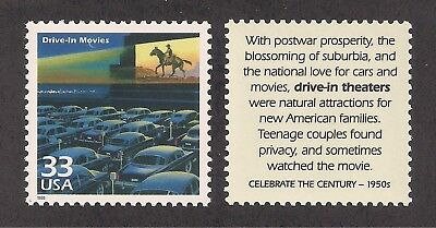 DRIVE-IN MOVIE THEATERS 1950's - U.S. POSTAGE STAMP - MINT CONDITION