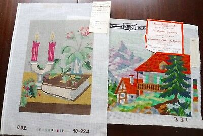 2 Needlepoint Canvases Painted d'Aiguille Margo Paris Cotton for Embroidery Lot