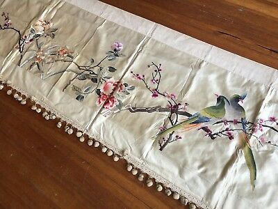 Antique 19thC Chinese Embroidered Panel Hanging Birds & Florals Silk Qing 80x21