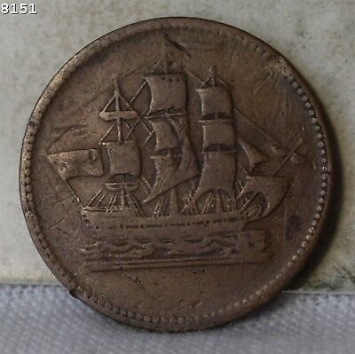 "*Ships Colonies & Commerce* Prince Edward Island Canada Penny Token ""VG"""