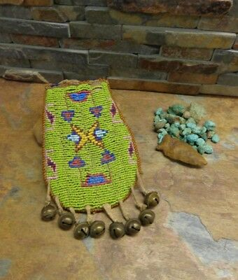 1910s SEED BEAD NATIVE PLAINS APACHE SIOUX CROW ? 2 SIDED MEDICINE BAG OLD BELLS