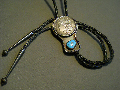 Vintage Western Americana  silver dollar Turquoise Sterling Silver Bolo Tie