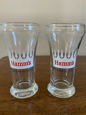 Set Of 2 Hamm's Vintage Beer Glasses 6 Oz. From The Land Of Sky Blue Waters
