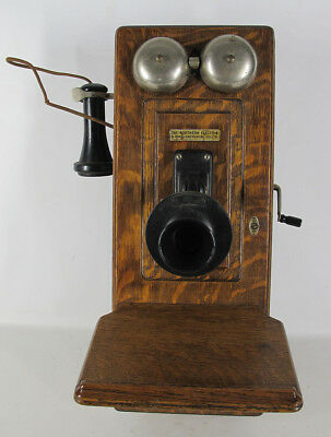 Antique Early 1900s Northern Electric N317 Wooden Crank Wall Phone Telephone yqz