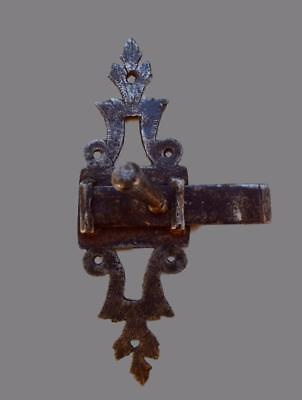 Antique French Openwork Chiseled Wrought Iron Door Lock Bolt 18th Century