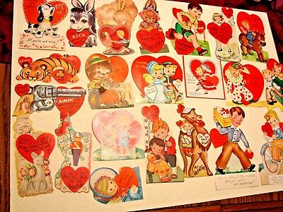 Vintage Lot Of 22 Valentines Greeting Cards From Scrapbook All Signed