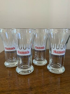 Set Of 4 Hamm's Vintage Beer Glasses 6 Oz. From The Land Of Sky Blue Waters