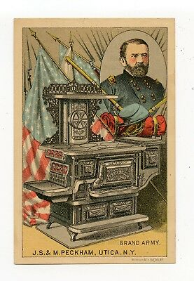 General Ulysses Grant1880's Victorian Trade Card Grand Army Peckham Stoves Utica
