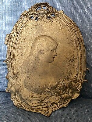 Antique Rare Victorian Woman Cast Iron Wall Hanging Ornate Beautiful Unique
