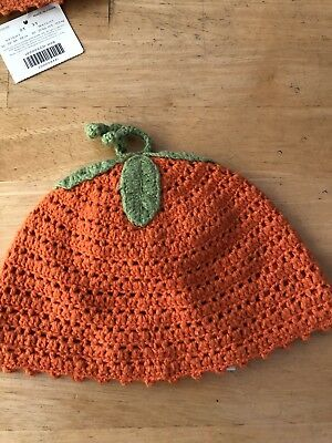 EUC Girl Boys Janie & Jack Orang Halloween Pumpkin Thanksgiving Beanie Hat 12-24