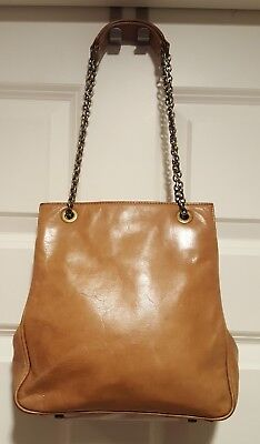 Vintage Hobo Cross body Bag Antique Leather  Brass Chain Free Shipping And Ret