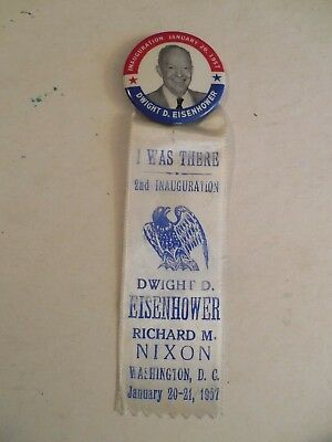 Presidential Pin Back Campaign Button Eisenhower Inauguration 1957 Ribbon Nixon