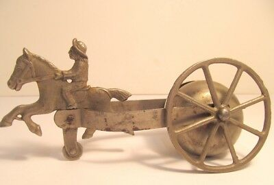 Vintage Cast Iron Bell Toy Horse Buffalo Bill? Part Restore Missing Wheel Old
