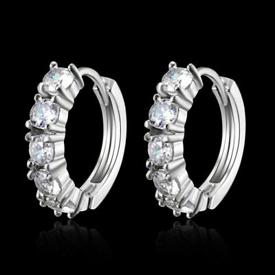 Sparkle 18k White Gold Filled CZ Clear Sapphire Stud Earrings Hoop Jewelry New