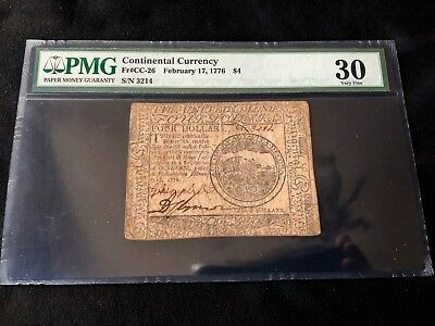 1776 Four Dollar Continental Currency PMG Certified 30 Very Fine