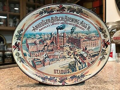 1974 Anheuser Busch Budweiser Metal Oval Display Tray - St Louis Brewery