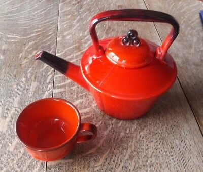 Metlox Red Rooster Teapot and Coffee Cup