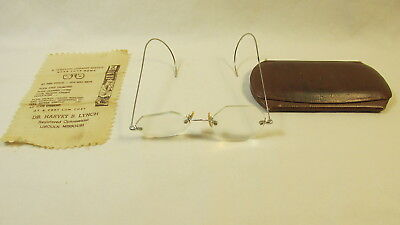Antique Eye Glasses In Leather Hard Case