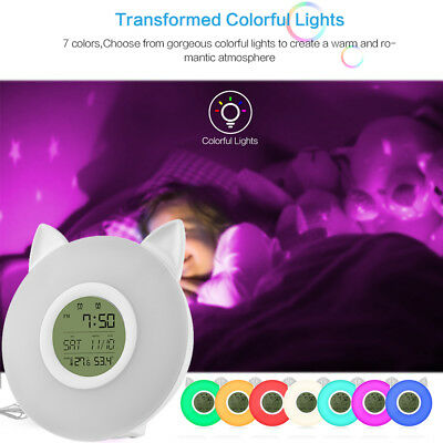 Wake-up Light Sunrise Alarm Clock LED FM Radio Bedside Night Lamp 7 Colors AH590