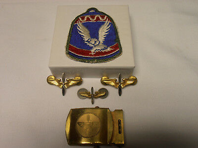 Ww Ii Military Lot - 3 Air Corp Wings - Brass Buckle - Wings Incised +Mil. Patch