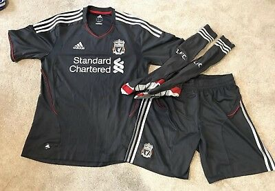 save off faa5a 8f8d6 OFFICIAL MENS LIVERPOOL 2011-2012 Away Football Kit Med Grey/Red Silver  Adidas