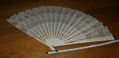 Antique Cloth Lace Sequined Hand Fan with Celluloid Staves- Large Size