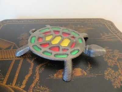 Stained Glass Turtle Trivet Vintage Cast Iron Red Yellow Green VGVC