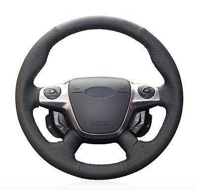 Black Artificial Leather Steering Wheel Cover for Ford Focus 3 KUGA Escape c-max