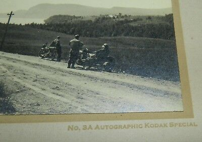 Vintage Photo / Photograph of 2 Motorcycles resting on side of road - Kodak
