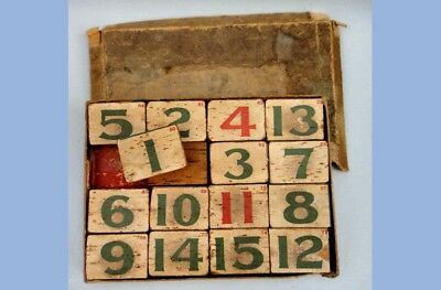 antique SLIDING NUMBER WOOD PUZZLE BLOCK GAME +BOX early toy victorian primitive