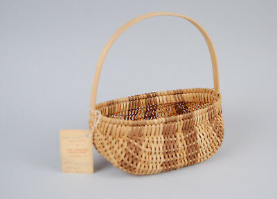 Cherokee White Oak Fruit Basket Vintage Tag - Annie Wolfe James - Native Dyes NC