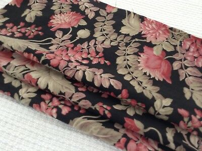 Lovely Antique French floral fabric cotton black background 19th century