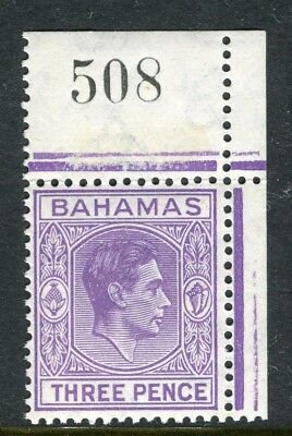 BAHAMAS; 1938 early GVI issue fine Mint hinged 3d. Corner value