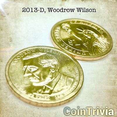 2013 D Woodrow Wilson Uncirculated US Presidential Golden Dollar Coin