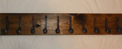 "10 Sealed Antique Hooks Old Railroad Spike Art ""Dark Walnut"" Vintage Coat Rack"