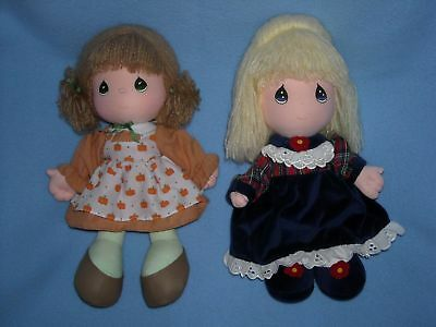 "LOT of TWO 11"" PRECIOUS MOMENTS DOLLS pumpkin brown hair N holiday blond hair"