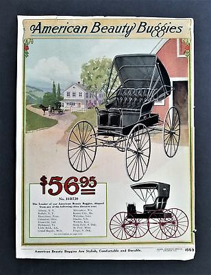 1904 antique BUGGY horse CARRIAGE AD sears roebuck co catalog page