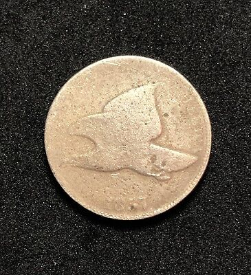 1857 1c Flying Eagle Cent (Philadelphia Mint) - About Good Condition