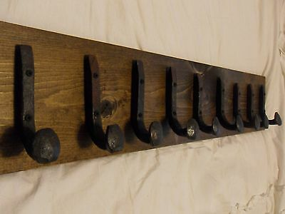 "9 Antique Hooks Old Railroad Spike Art ""Dark Walnut"" Vintage Style Coat Rack"