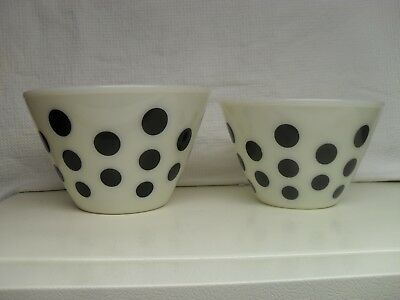 Fire King Glass Mixing Bowls Set Of Two Black Polka Dots