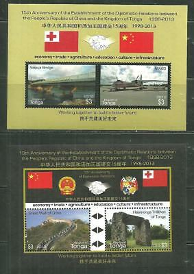 Tonga 1230-31 Mnh S/s's Diplomatic Relations With Pr China Scv 13.50