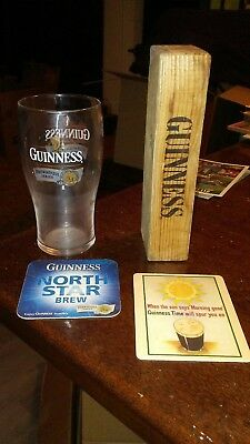 Guinness collection - rare Brewhouse Series pint glass, Jenga piece, 2 coasters
