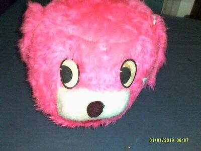 Vintage Retro Style Childs Pink Fuzzy Dog Head Foot Stool