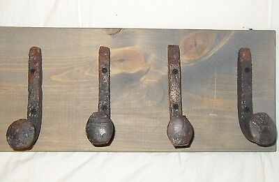 "4 Antique Hooks Old Railroad Spike Art ""Weathered Barn"" Vintage Style Coat Rack"